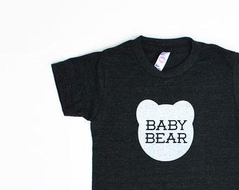 Baby Bear Kids Toddler TriBlend Heather Black TShirt with White Print