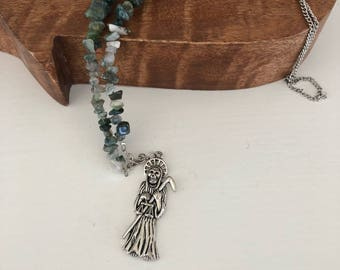 Indian Agate Necklace and Ripper Charm // Natural Chip Necklace // Indian Agate Jewelry // Stone Chip // Boho Fashion