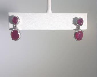925 Silver Ruby Earrings