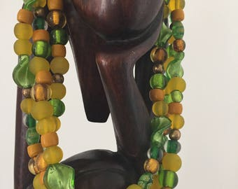 Necklace precious multi strand yellow and green tones