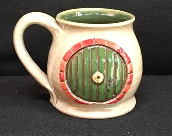 Hobbit door inspired mug, 12 ounces