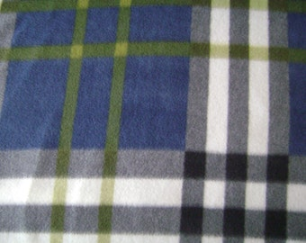 Navy Blue Plaid Fleece Fabric Sold by the Yard