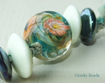 Handmade Lampwork Focal bead - 'Orange & turquoise!' - Creeky Beads SRA