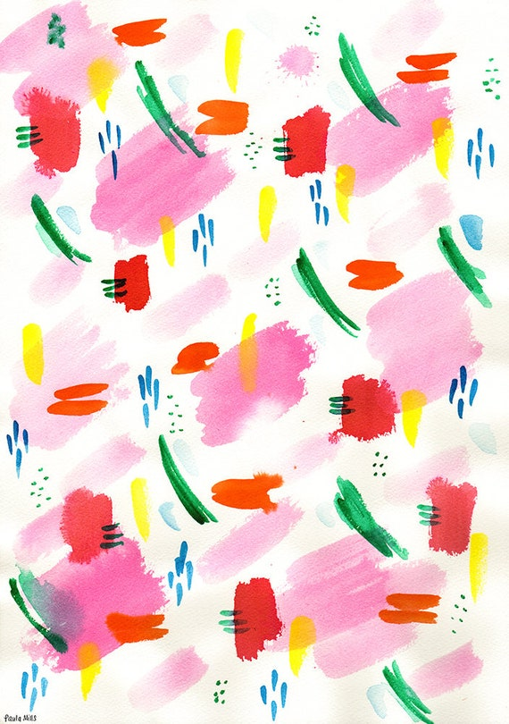Water Colour Patterns No.2 Archival Wall Art Print watercolour illustration