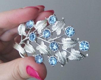 Vintage Leaf Blue Rhinestone Brooch Silver Tone