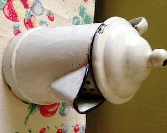 White Enamelware Coffee Pot w/ Button Top & Navy Trim Rustic Farmhouse Shabby Chic