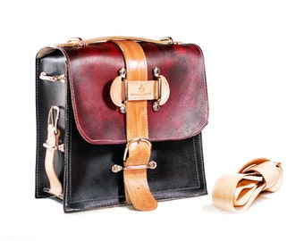 Leather Satchel - Ombre Hand Painted Leather Camera Bag in Vegetable Tanned Leather with Eco Friendly Vegetable Dyes