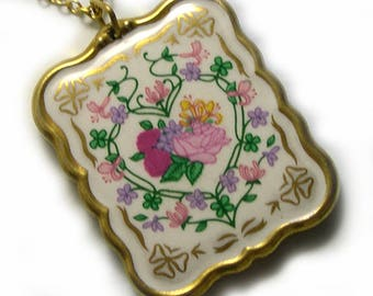 Antique Retro Old Flowers Floral Vintage Porcelain Pendant, vintage ceramic pendant, floral pendant, floral necklace, Bavarian jewelry