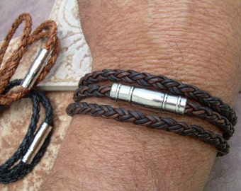 Men's Bracelet Leather, Mens Leather Bracelet, Braided Leather Wrap Bracelet, Stainless Steel, Fathers Day, Magnetic Clasp, Mens Jewelry,