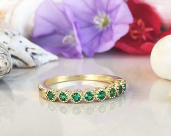 20% off-SALE!! Emerald Ring - May Birthstone - Bezel Ring - Stack Ring - Gold Ring - Gemstone Band - Dainty Ring - Simple Ring - Tiny Ring