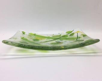 Green Fused Glass Dish