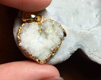 White druzy heart gold dipped electroplated edged. Blue pink flash geode iridescent DISCOUNTED