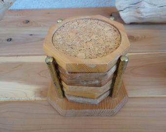Wooden Coaster Set With Caddy