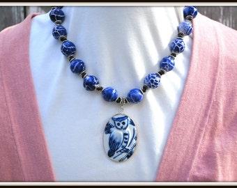 Owl Pendant Necklace, Owl Pottery Shard Necklace, Chunky Ceramic Necklace, Porcelain Pottery Necklace, Chunky Pendant Necklace, Blue Neck