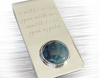 Pet ashes memorial Inspire money clip. Solid sterling silver & boro glass cremation. Ashes of pet. Men's engraved keepsake. Artisan handmade