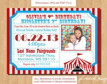 Carnival Invitation Circus Invite Circus Invitation Carnival Invite Carnival Theme Party Circus theme party invitation dual birthday party