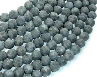 Matte Black Labradorite Beads, Larvikite, 8mm (7.8mm) Round Beads, 15 Inch, Full strand, Approx 49-50 beads, Hole 1mm (137054007)