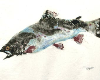 ORIGINAL Rainbow Trout GYOTAKU Fish Rubbing Art Lake House Decor on Best premium 24 X 30 Muslin