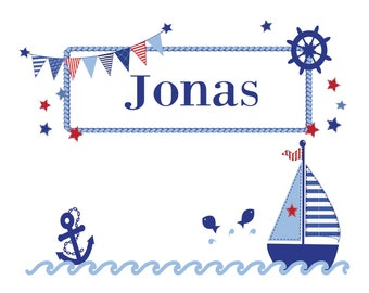 Personalized pillow with name and motif sailboat boy/girl