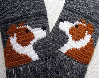 Red Border Collie Scarf. Charcoal gray, knit scarf with red border collie dogs. Knitted dog scarf. Collie dog gift