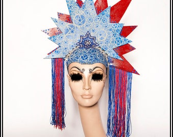 StatueEsque.... Satanic America Themed Headdress With Pentagrams