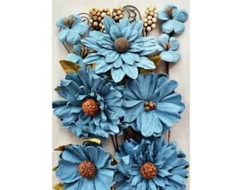 49 & Market Botanical Blends Marina - 49 And Market Marina Flowers - Marina Scrapbook Flowers - Blue Botanical Blends Embellishment - 1-060