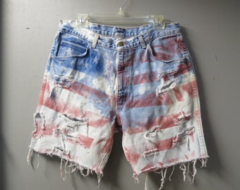 """Levis ombre BLEACHED  cut off jeans shorts  36"""" waist destroyed Peak-a-boo Pockets  Red white & Blue Star Spangled USA Flag, Mens or Womens"""