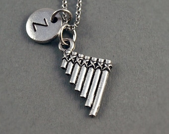 Pan flute Necklace, pan pipes, Pan flute charm, antique silver, initial necklace, initial hand stamped, personalized, monogram
