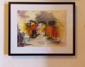 Light, original watercolor, figurative, minimalist