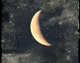 Solitude, waning crescent moon photograph, golden crescent moon, winter moon, grey sky, moon photo, grey and gold art, metaphysical art