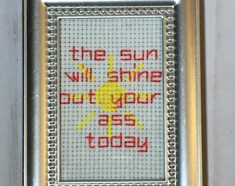 Nothing but the Best Wishes Finished Framed Cross Stitch