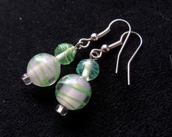 Green and Pink Dangle Earrings