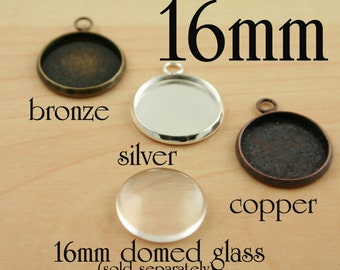 24 DIY Bezel Earring Charm Drops- 16mm - Blank earring, charms, bracelets, pendants - Optional Glass and Seals (24 or 48).