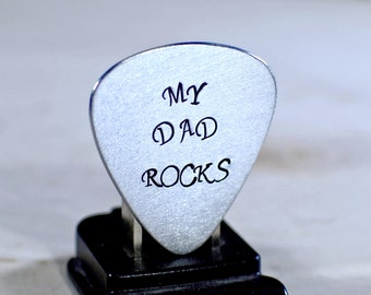 Guitar Pick My Dad Rocks Handmade from Aluminum for Fathers Day - GP502