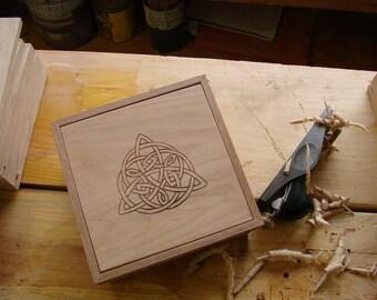 Celtic Knot Wood Box, Jewelry Box, Memory Box, Gift Box, Engagement Box, Spiritual Box, Trinket Box, Unity Box, Irish Box