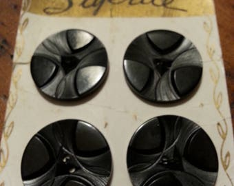 Set Four Carved Art Deco Black Bakelite Buttons Original Stylrite Card Art Deco