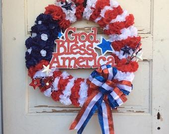 AG Designs Patriotic Decor - God Bless America Carnation Flower Wreath