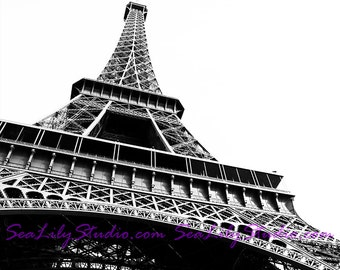 Eiffel Tower : love paris france photography tourist travel photo black white monochrome silhouette home decor 8x12 12x18 16x24 20x30 24x36