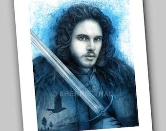 Game of Thrones Jon Snow King in the North Portrait Raven Design, Art Print, Sale