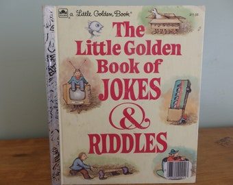 "Vintage Little Golden Book, ""The Little Golden Book of Jokes and Riddles"".  Copyright 1983.  Vintage Children's Book"