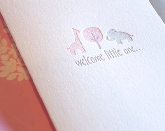 New baby expecting card, baby girl, cute newborn card, Welcome little one, Letterpress, pastel pink & silver with giraffe and elephant