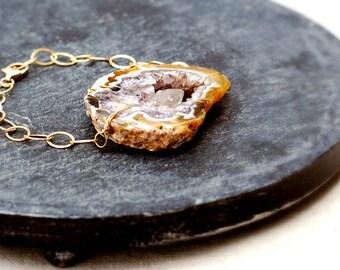 dynamic... gold geode slab bracelet / large crystal geode slice & 14k gold filled chain cuff bracelet / druzy drusy crystal / for her
