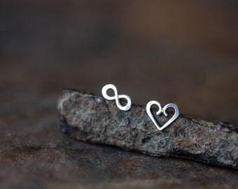 Endless Love - Mismatched Tiny Stud Earrings, sterling silver heart and infinity symbol, romantic Valentine gift for her, infinite love
