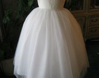 Diamond White Flower Girl Dress