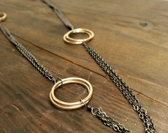 Oxidized Silver and Gold Necklace, Princess Length Necklace, Sterling Silver and 14K Gold Fill