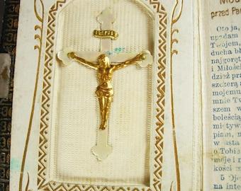 1926 Polish Czech Slovak Language Prayer Book Chwata Boza Vintage well loved miniature religious book bible mop rosary cross