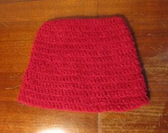 Fuzzy red crochet hat