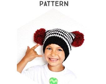 Crochet Pattern The Square Pom Pom Hat - Newborn, Toddler, Child & Adult Sizes, chunky, winter, pom-pom, all sizes, hipster, photo tutorial