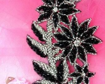 """FS10 Black & Silver Floral Beaded Sequin 5""""  (FS10-BKSL)"""