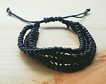 Multi Strand Bracelet, Beaded Bracelet, Macrame Bracelet, Layered Bracelet, Seed Bead Bracelet, Black, Adjustable, Friendship